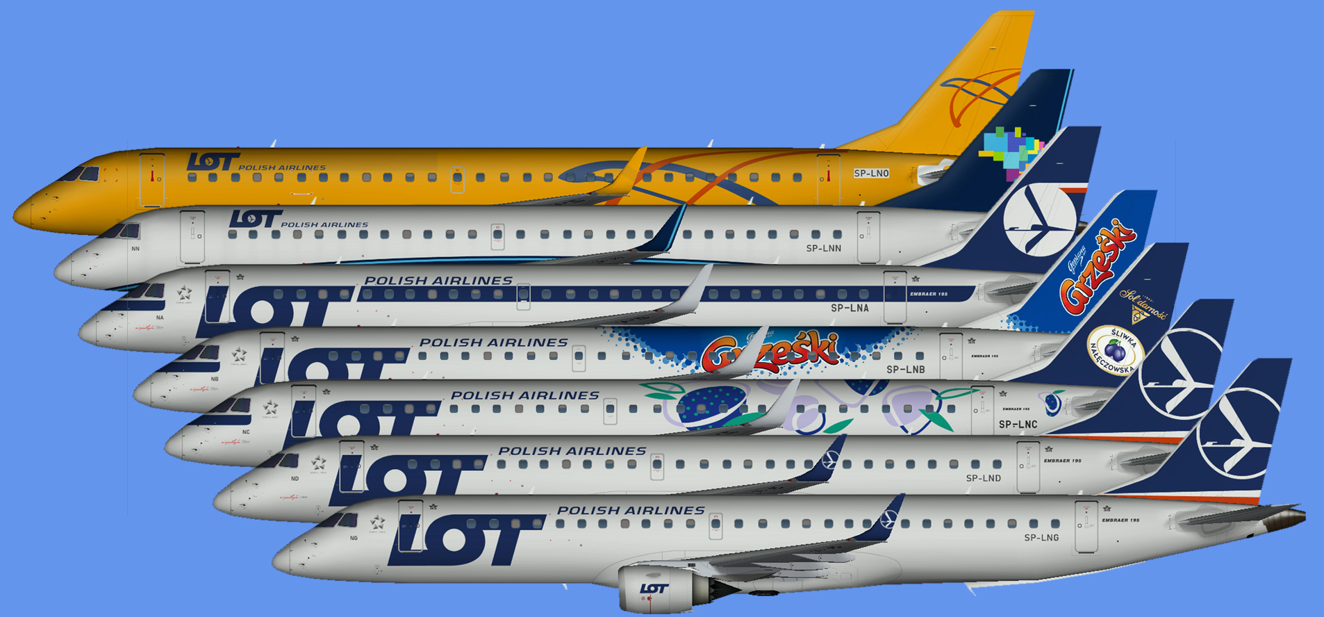 LOT Embraer E195 fleet 2019
